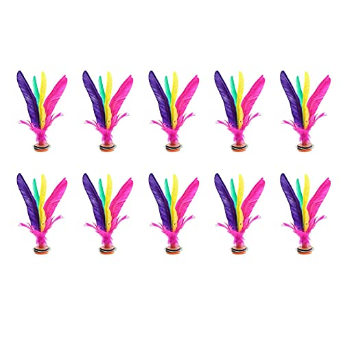 10 개 킥 셔틀콕 다채로운 중국어 JIANZI 깃털 발 스포츠 야외 장난감 게임 개선 다리 근육 강도 및 바디 유연성