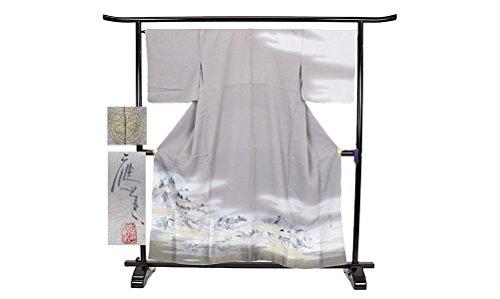 訪問着 正絹 着物 きもの 金銀糸織 風景 一つ紋 落款 袷 和装 リサイクル【中古】 90002978
