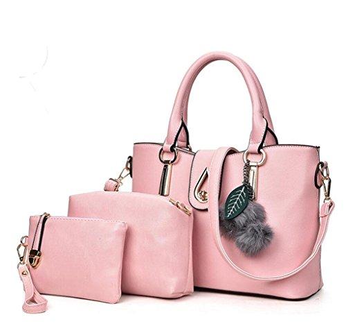 bambino portafoglio 5 pacchetto colori semplice tre portatile NVBAO light pezzi moda monospalla pu borsa pink Signore set pelle Master twHp1q