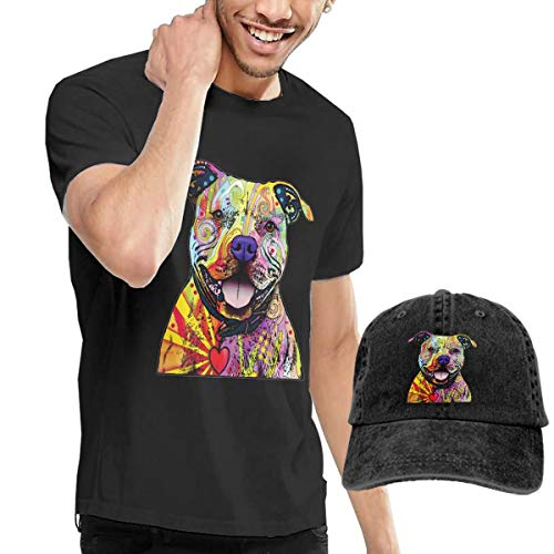 (Unisex Adult Youth Mens Womens Short Sleeve Crew Neck Funny Tees Soft Casual Graphic Top & Adjustable Baseball Style Hat Animal Pop Art Pitbull Dog Costume)