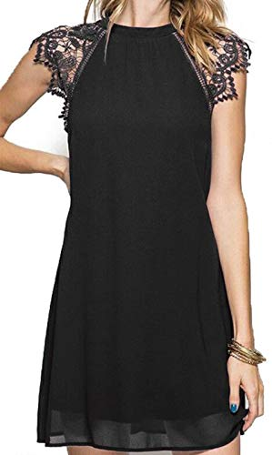 Black Chiffon Cocktail Dress - CHICIRIS Women's Casual Cap Short Sleeve Floral Wedding Flare Cocktail Mini Chiffon Dress Black L