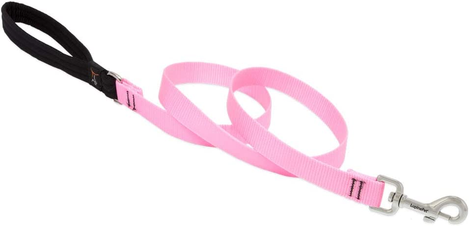 """LupinePet Basics 3/4"""" Pink Leashes for Medium and Larger Dogs"""