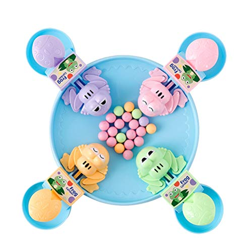 TOYANDONA Hungry Frogs Game Feeding Frog Ball Bean Desktop Game Gluttonous Frogs Eat Beads Educational Toys Four-Player Game (28 Beans)