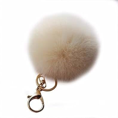 Amiley Fluffy Faux Rabbit Fur Ball Charm Pom Pom Car Keychain Handbag Wallet Backpack Key Ring (Beige)