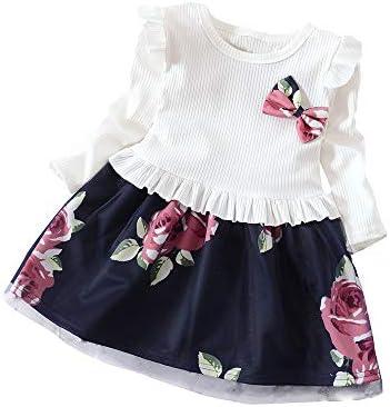 feiXIANG Ropa para niños Ropa para niños Primavera y otoño Vestido de Manga  Larga Arco Vestido Estampado de Flores Vestido de Princesa Fiesta Informal  ... 9c3782fefd74
