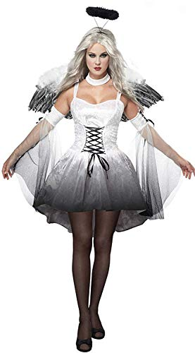 BADI NA Women's Adult Fallen Angel Costume Devil Bride Vampire Dress Uniform Clothes White S]()