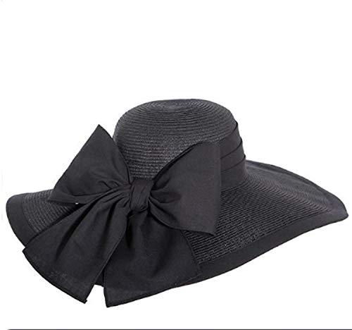 Victorian Trading Co Black Vanderbilt Straw Sun Hat w/Dupioni Silk Bow