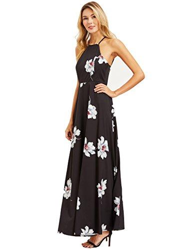12489adc2f0 Floerns Women s Sleeveless Halter Neck Vintage Floral Print Maxi Dress Black  S