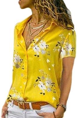 Zantt Womens V Neck Short Sleeve Casual Floral Print Plus Size Top T-Shirt Blouse