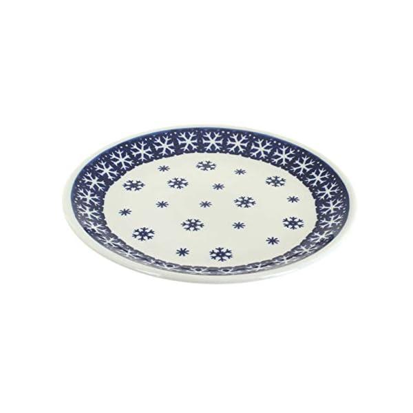 Blue Rose Polish Pottery Snow Flurry Dessert Plate