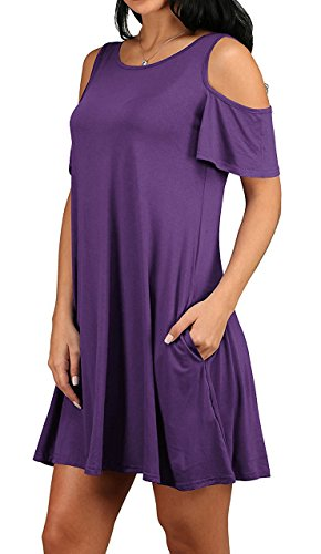 JOELLYUS Shoulder Cold Shirt Pockets Womens Dress Size Purple T with Plus x6qafg