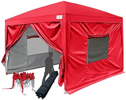 Quictent Privacy 10×10 Easy Pop-up Canopy Tent Instant Shelter Waterproof with Sides Walls and Wheeled Bag Red