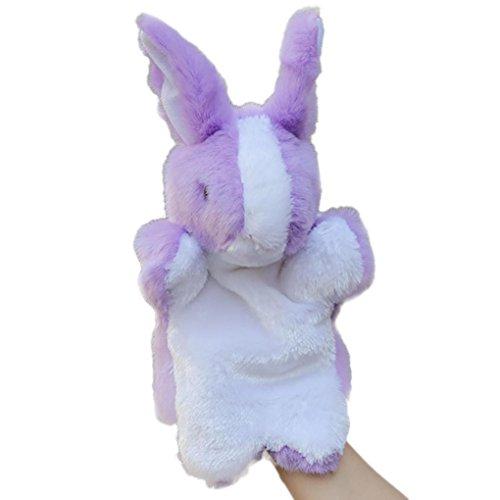 LtrottedJ Cute Cartoon Animal Doll Kids Glove Hand Puppet Rabbit Plush Bunny Finger Toys (Purple) ()