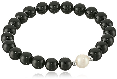 Genuine Black Agate with White Freshwater Cultured Pearl Accent Beaded Stretch Bracelet, (Agate Genuine Pearl)
