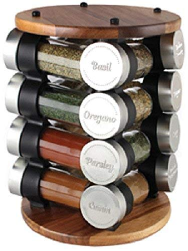(Olde Thompson 25-722 16-Jar Filled Carousel Spice Rack, Acacia)