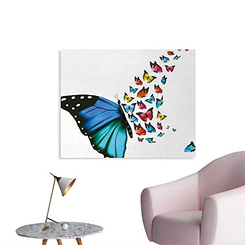 Tudouhoho Butterfly Art Poster Creative Conceptual Artwork Monarch Wings Colorful Realistic Natural Wildlife Wallpaper Multicolor W36 xL32
