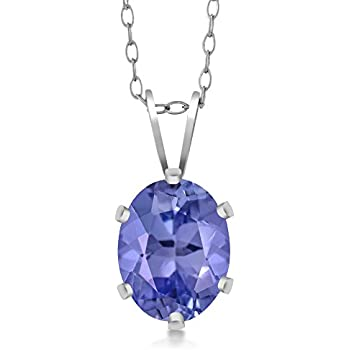 Amazon 14k white gold tanzanite and diamond pendant necklace sterling silver tanzanite pendant necklace 130 cttw 8x6mm oval with 18 inch silver chain aloadofball Gallery
