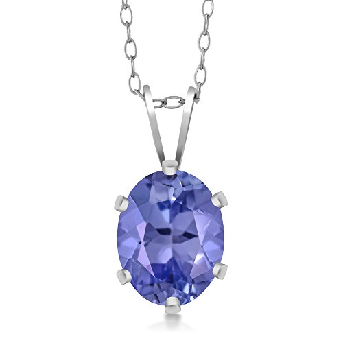 Gem Stone King Sterling Silver Tanzanite Pendant Necklace (1.30 cttw, 8X6MM Oval, With 18 Inch Silver Chain) (Pendant Tanzanite)