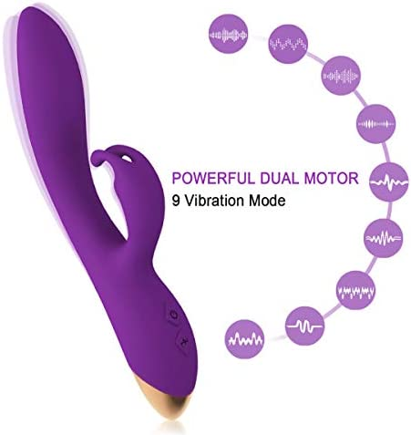 9 Powerful Vibration Modes, Portable Personal Rechargeable Massager, Handheld Cordless Waterproof Massager Therapy Back Neck Muscle Aches Sports Recovery, Quiet Purple