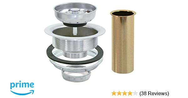 Ez Flo 30008 Removable Kitchen Sink Basket Strainer Drain Assembly Kit With Brass Tailpiece Stainless Steel 3 1 2 Inch To 4 Inch Opening