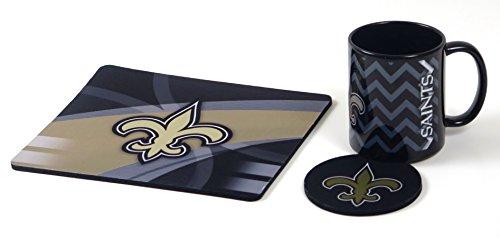 New Orleans Saints Neoprene Mouse pad, Coaster, in Ceramic Coffee Mug Computer Workstation Set. (Mug Pad Coffee Mouse)