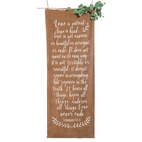 Ling's moment Over-Sized Bohemian Style Wedding Sign Suede Fabric Vintage Wedding Banner Signage with Calligraphy Ceremony Love is Patient Love is Kind Bible Quote Bridal Shower Photo Backdrop Decor