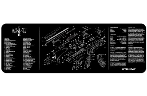 TekMat AK-47 Cleaning Mat / 12 x 36 Thick, Durable, Waterproof / Long Gun Cleaning Mat with Parts Diagram and Instructions / Armorers Bench Mat / Black