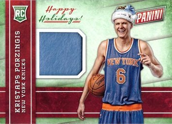 Hat New York Holiday Knicks - 2015 Panini Black Friday Relics #KP Kristaps Porzingis Player Worn Santa Hat Basketball Rookie Card
