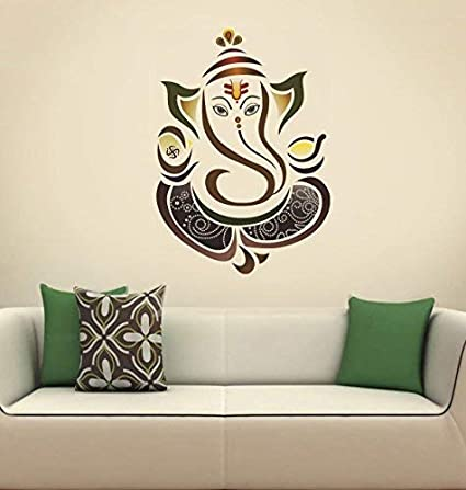 Printelligent Decals Diwali Decoration Ganpati Ji 50 Cm X 70 Cm Wall Sticker Colourful Ganesha Lord Ganesha Frmaed Painting For Diwali Home Decor