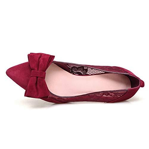 Claret Pumps Lace Womens Urethane Shoes Solid BalaMasa APL11200 Bows C8awXWq