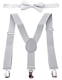 Panegy Kids Children's Braces Clips Elastic Y-Shape Adjustable Suspenders and Matching Bow Tie Set-Light Gray