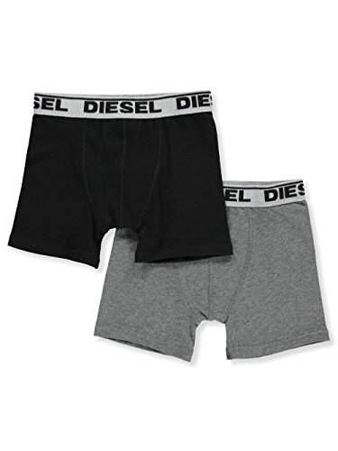 Diesel Big Boys' 2-Pack Boxer Briefs - Charcoal Gray/Black, 18-20 Diesel Kids Boys Clothing
