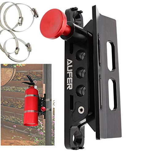 AUFER 1 Year Warranty-Universal Adjustable Roll Bar Fire Extinguisher Mount Holder with 4 Clamps for Jeep Wrangler UTV RZR Boat etc, Aluminum