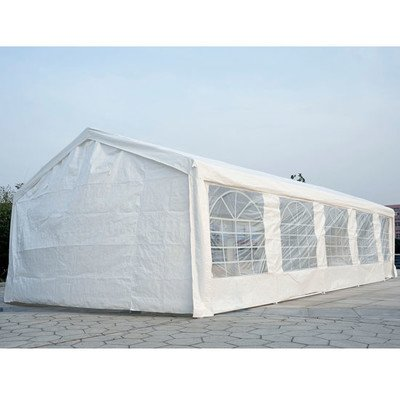 Outsunny 16' x 32' Outdoor Carport Canopy Party Tent with Sidewalls - White