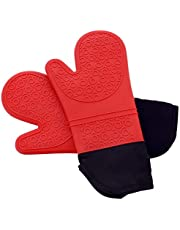 PrettyCare Silicone Oven Mitts 1 Pair Extra Long Set Heat Resistant Washable Kitchen Glove Non Slip Baking Glove Potholder for Cooking, Baking, BBQ, Food Safe, BPA Free FDA Approved With Soft Inner Lining Red