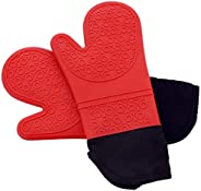 PrettyCare Silicone Oven Mitts 1 Pair Extra Long Set Heat Resistant Washable Kitchen Glove Non Slip Baking Glo