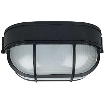 Nauticus outdoor bulkhead black finish with frosted glass shade sunset lighting f7990 31 one light oval outdoor bulkhead black finish with frosted prismatic aloadofball Choice Image