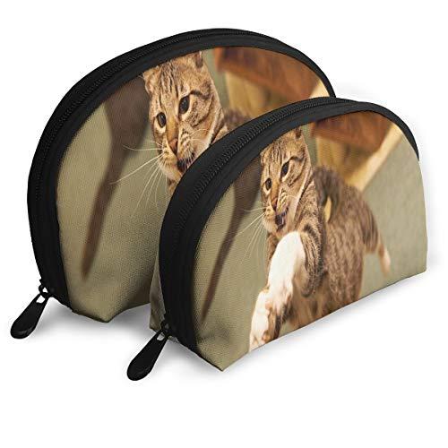 Makeup Bag Funny Cats Jump Fail Portable Shell Makeup Case For Girlfriend Halloween Gift 2 -
