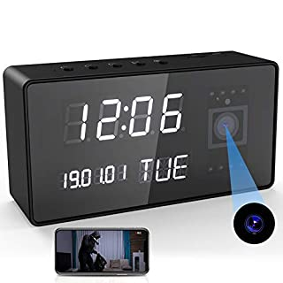 Camera Clock, Camera Alarm Clock, HD 1080P WiFi Camera Alarm Clock with Night Vision Motion Detective for Home Office Security
