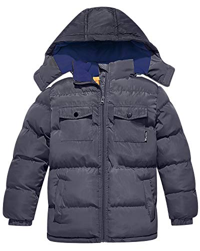 Wantdo Boy's Quilted Padded Winter Coat Thick Warm Jacket with Removable Hood