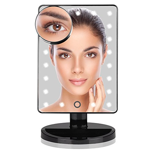KI Store LED Lighted Vanity Makeup Mirrors Touch Screen with Portable Magnifying Spot Mirror UV Coating Battery Operated (Spot Uv Coating)