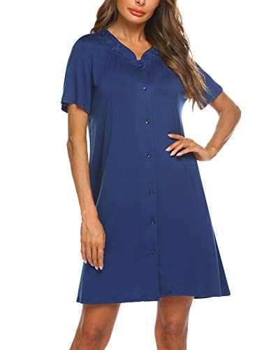 Ekouaer Womens Dusters and Housecoats Short Sleeves Nightgown Button Front Nightwear Lounger PJs Dress S-XXL Navy Blue