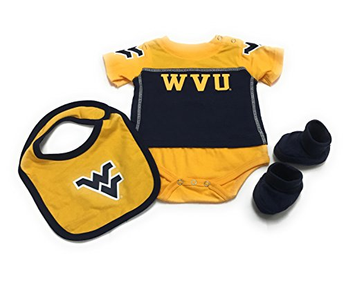 - Outerstuff Baby West Virginia Mountaineers 3 Piece Bib Bootie & Bodysuit Set (6-9 Month)