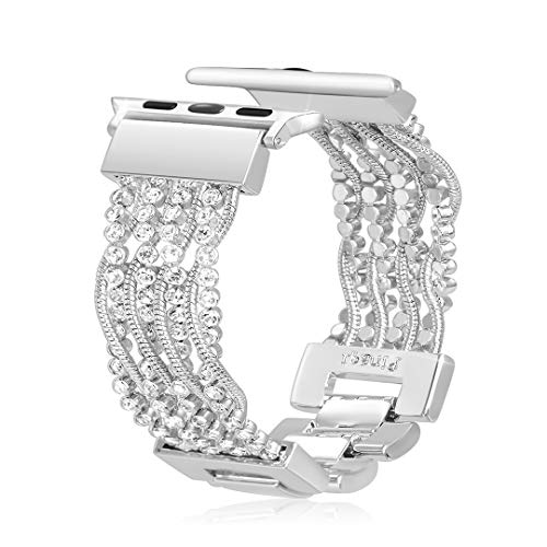 Duoan Compatible with Apple Watch Band 38mm 40mm, Bling Crystal Metal Chain Bracelet Adjustable Replacement Strap Compatible with iWatch Series 4 3 2 1, Women's Fashion Jewelry Wristband(Silver)
