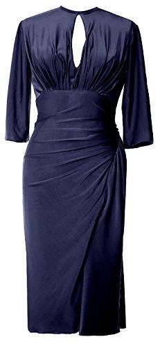 MACloth Elegant Half Sleeve Cocktail Dress Knee Length Jersey Formal Party Gown Dunkelmarine lPY7xBU5Oj