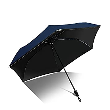 MAYUAN520 Paraguas Super Ligero Bloqueador Solar Fibra De Carbono Plegado Paraguas Sombrilla Vinilo Paraguas,Azul