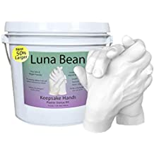 Luna Bean LARGE KEEPSAKE HANDS Plaster Statue COUPLES Molding & Casting Kit | Now 50% More Mold Making Materials and Larger Bucket