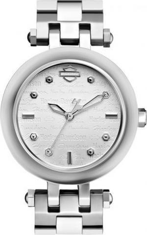 Bracelet White Davidson Harley (Harley-Davidson Women's Bulova Rolling Script Wrist Watch 76L171)