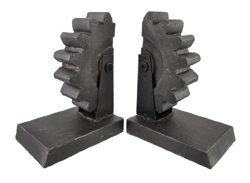Pair of Metal Gear Bookends Cast Iron Finish