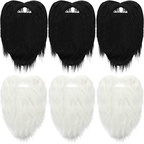 Zonon 6 Pieces Long Beard Costume Black and White Long Beard 11 Inches Faked Beard for Fancy Dress Props Costume Accessories]()